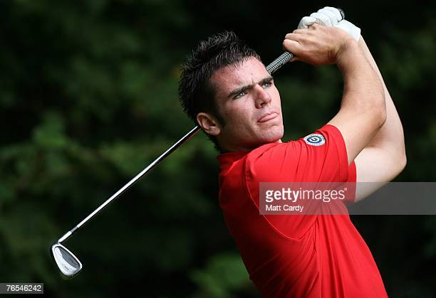 Amatuer golfer Adam Runcie tees off during the final round on the third day of the RCW2010 Welsh National PGA Championship at Cardiff Golf Club on...