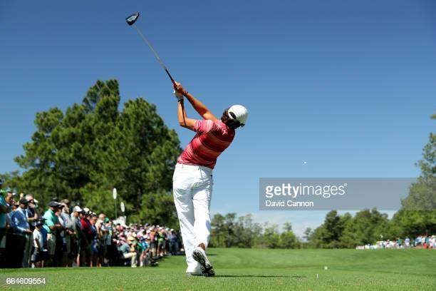 Amatuer Toto Gana of Chile plays a shot during a practice round prior to the start of the 2017 Masters Tournament at Augusta National Golf Club on...