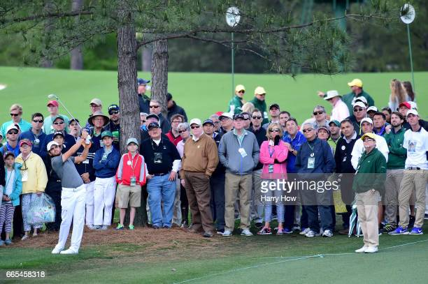 Amatuer Toto Gana of Chile plays a shot during the first round of the 2017 Masters Tournament at Augusta National Golf Club on April 6 2017 in...