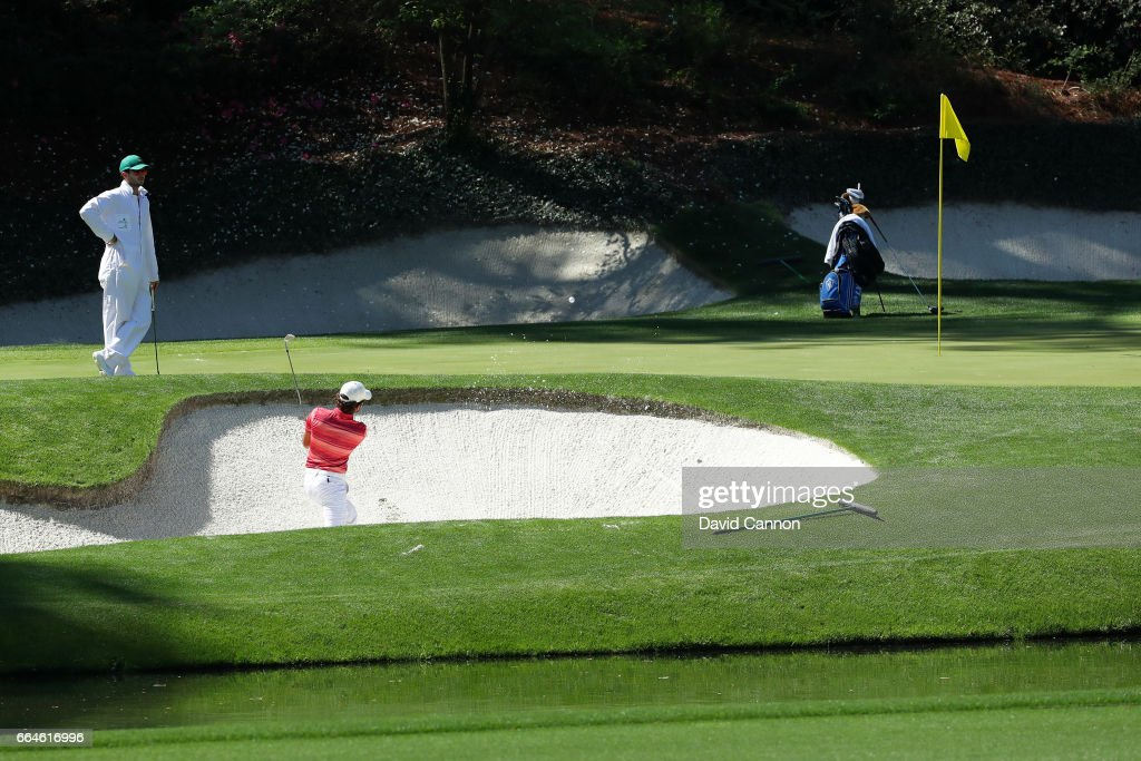 Amatuer Toto Gana of Chile plays a shot from a bunker during a practice round prior to the start of the 2017 Masters Tournament at Augusta National Golf Club on April 4, 2017 in Augusta, Georgia.