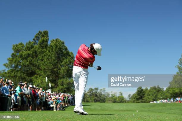 Amatuer Toto Gana of Chile plays a shot on the 15th tee during a practice round prior to the start of the 2017 Masters Tournament at Augusta National...