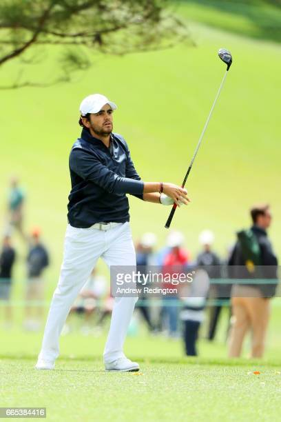 Amatuer Toto Gana of Chile plays his second shot on the first hole during the first round of the 2017 Masters Tournament at Augusta National Golf...
