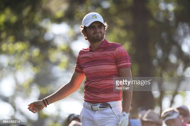 Amatuer Toto Gana of Chile plays his shot from the fourth tee during a practice round prior to the start of the 2017 Masters Tournament at Augusta...