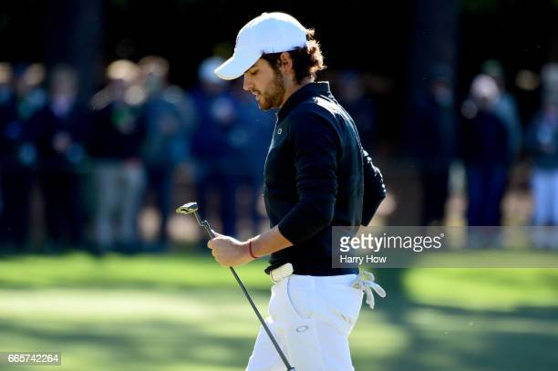 Amatuer Toto Gana of Chile walks off after putting on the first hole during the second round of the 2017 Masters Tournament at Augusta National Golf...