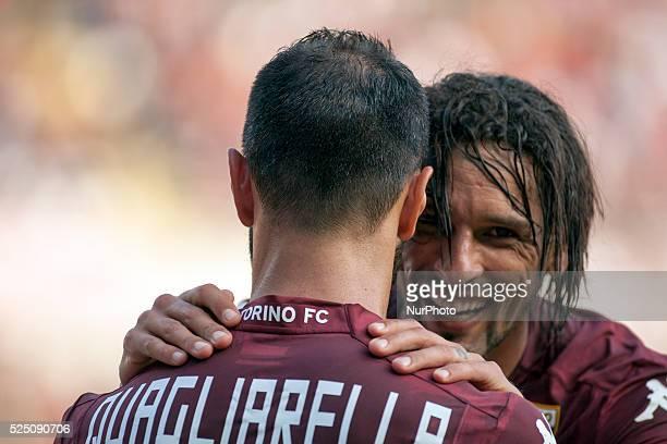 Amauri and Fabio Quagliarella after the first goal of Fabio Quaglarella during the Serie A match between Torino FC and Udinese at Olimpic Stafium on...