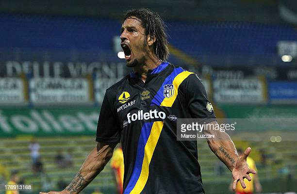 Amauri Carvalho De Oliveira celebrates after scoring the opening goal during the TIM Cup match between Parma FC and US Lecce at Stadio Ennio Tardini...