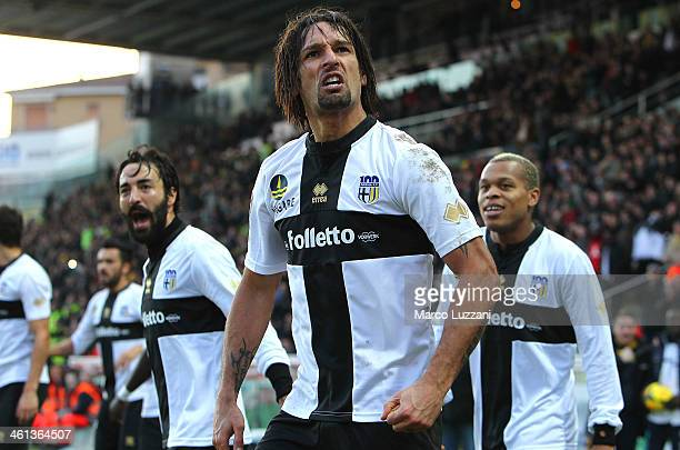 Amauri Carvalho De Oliveira of Parma FC celebrates his goal during the Serie A match between Parma FC and Torino FC at Stadio Ennio Tardini on...