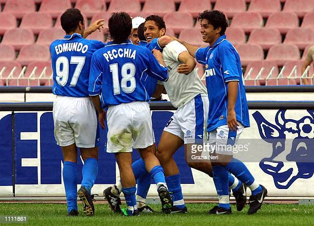 Amauri Edmundo and Teamates of Napoli celebrate a goal during the Serie A 31st Round League match between Napoli and Verona played at the San Paolo...