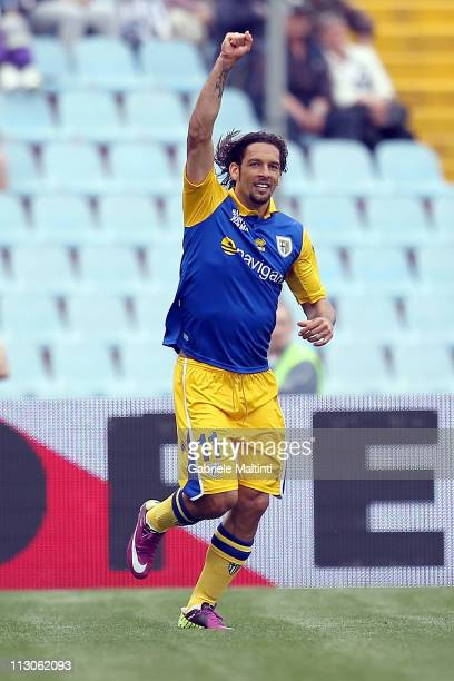 Amauri of Parma FC celebrates after scoring a goal during the Serie A match between Udinese Calcio and Parma FC at Stadio Friuli on April 23 2011 in...