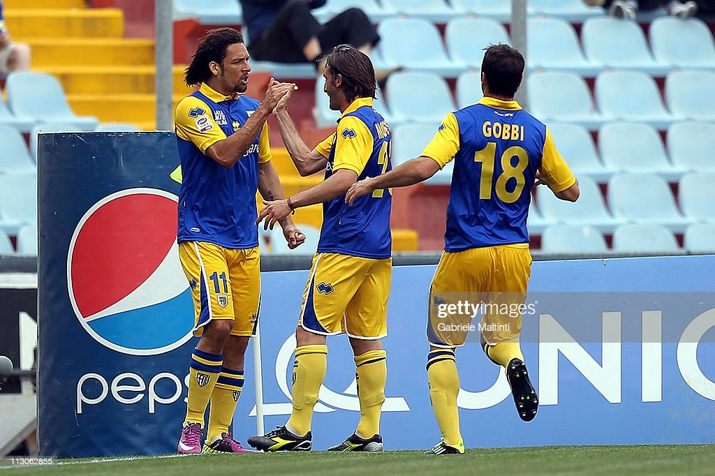 Amauri of Parma FC celebrates after scoring a goal during the Serie A match between Udinese Calcio and Parma FC at Stadio Friuli on April 23, 2011 in Udine, Italy.