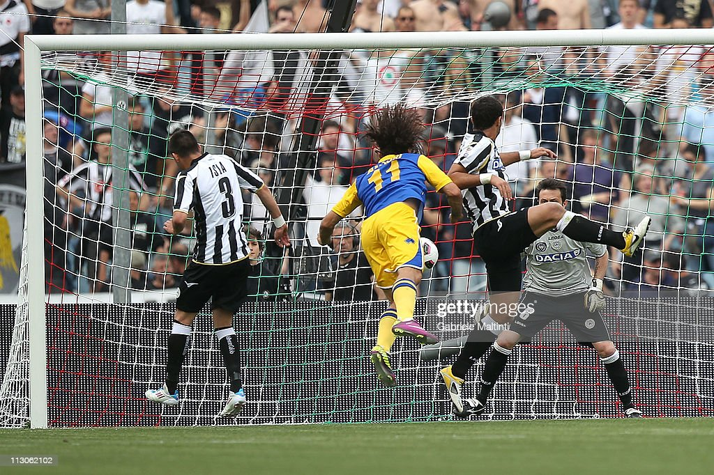 Amauri of Parma FC scores the opening goal during the Serie A match between Udinese Calcio and Parma FC at Stadio Friuli on April 23, 2011 in Udine, Italy.