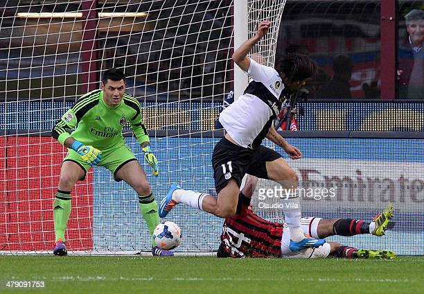 Amauri of Parma FC scores the third goal during the Serie A match between AC Milan and Parma FC at San Siro Stadium on March 16 2014 in Milan Italy