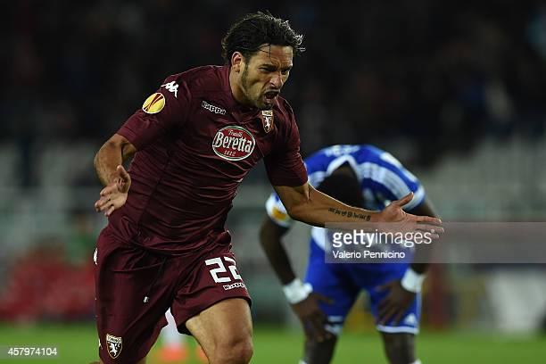 Amauri of Torino FC celebrates scoring their second goal during the UEFA Europa League group B match between Torino FC and HJK Helsinki at Olimpico...