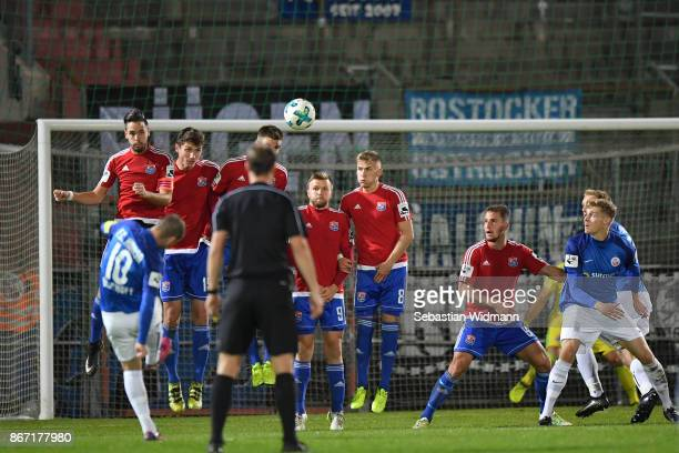 Amaury Bischoff of Hansa Rostock scores his teams second goal during the 3. Liga match between SpVgg Unterhaching and F.C. Hansa Rostock at...