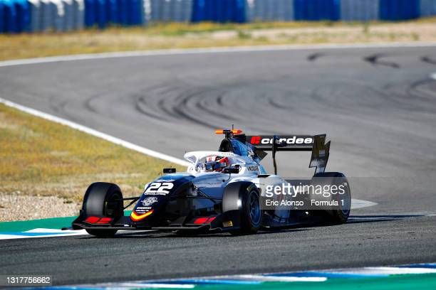 Amaury Cordeel of Belgium and Campos Racing drives during day two of Formula 3 Testing at Circuito de Jerez on May 13, 2021 in Jerez de la Frontera,...