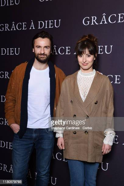 Amaury De Crayencour and Baya Rehaz attend the 'Grace A Dieu' Premiere at Mk2 Bibliotheque on February 18 2019 in Paris France