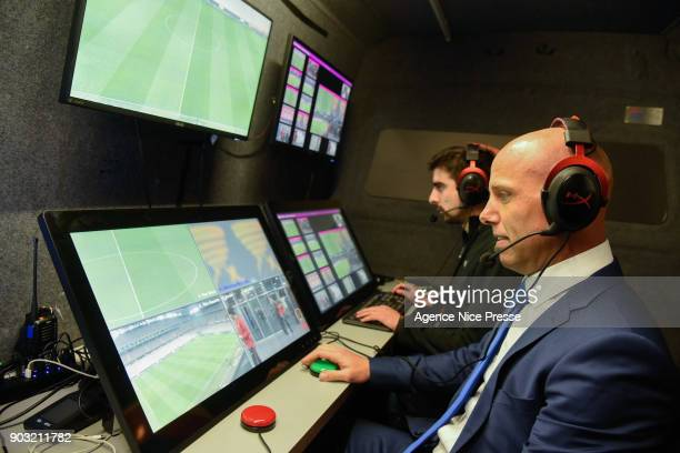 Amaury Delerue assistant video referee during the League Cup match between Nice and Monaco at Allianz Riviera Stadium on January 9 2018 in Nice France