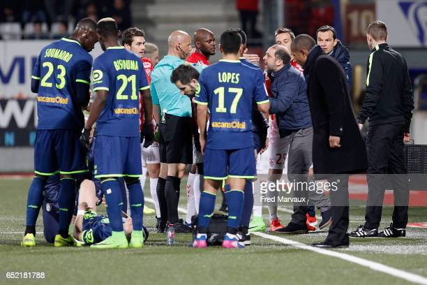 Amaury Delerue referee and Pablo Correa coach of Nancy during the Ligue 1 match between As Nancy Lorraine and Lille OSC at Stade Marcel Picot on...
