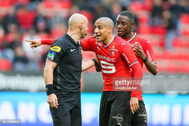 Amaury Delerue referee and Wahbi Khazri of Rennes during the French Ligue 1 match between Rennes and Monaco at Roazhon Park on April 4 2018 in Rennes...