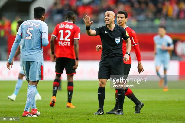 Amaury Delerue referee during the French Ligue 1 match between Rennes and Monaco at Roazhon Park on April 4 2018 in Rennes France