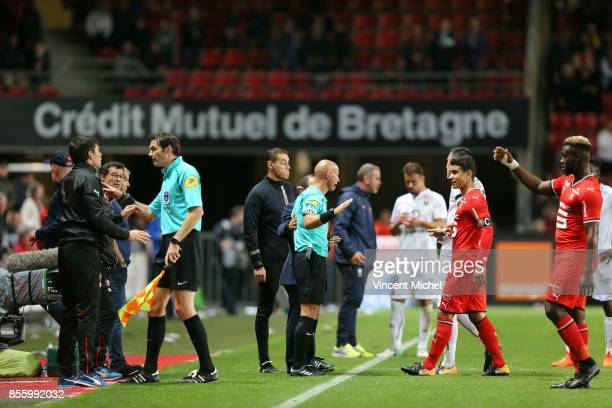 Amaury Delerue referee during the Ligue 1 match between Stade Rennais and SM Caen at Roazhon Park on September 30 2017 in Rennes