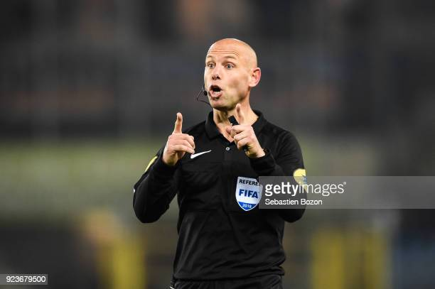 Amaury Delerue referee during the Ligue 1 match between Strasbourg and Montpellier at on February 23 2018 in Strasbourg
