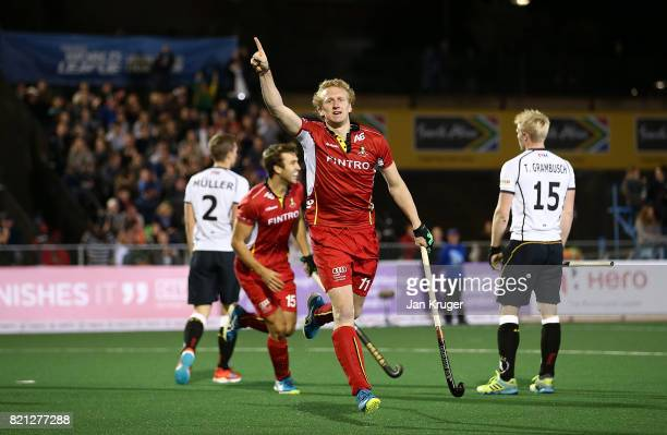 Amaury Keusters of Belgium celebrates his goal during day 9 of the FIH Hockey World League Men's Semi Finals final match between Belgium and Germany...