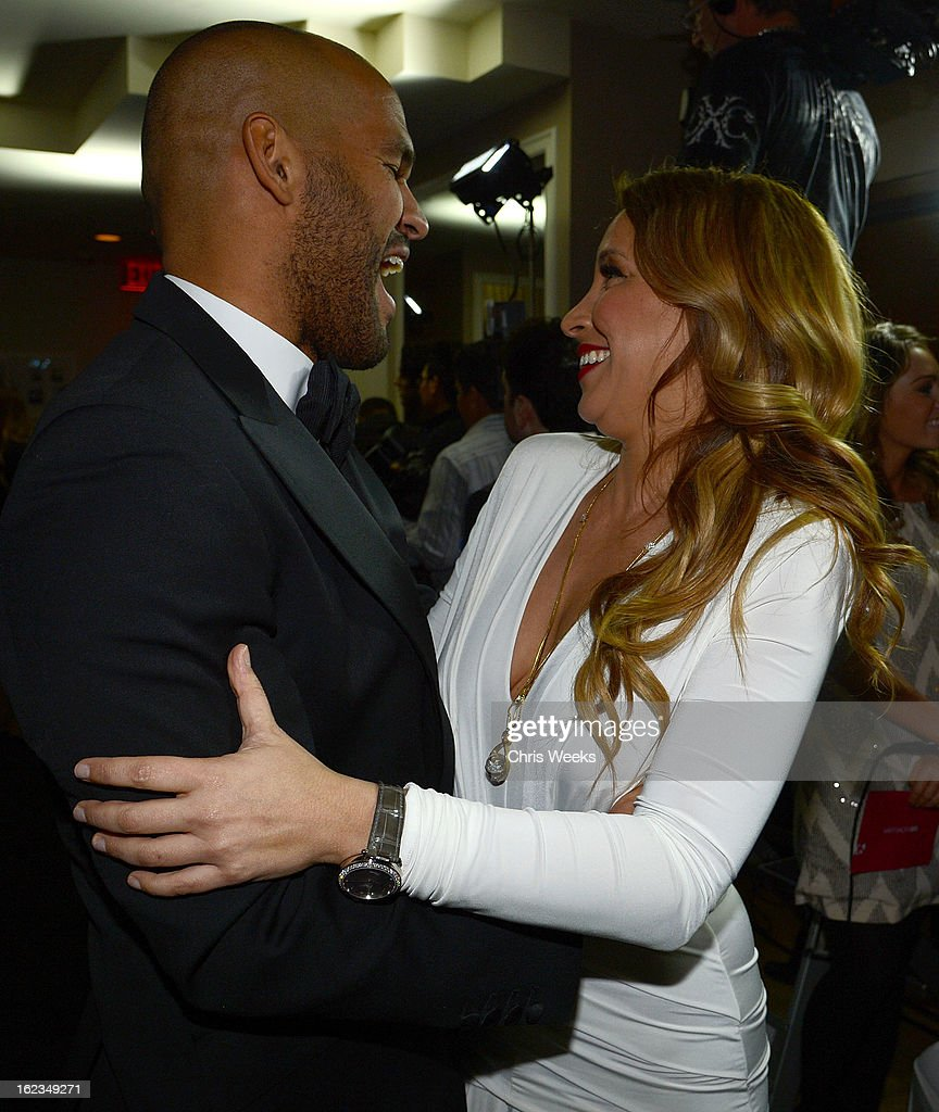 Amaury Nolasco and Daya Fernandez attend the Hollywood Domino and Bovet 1822 Gala benefiting Artists For Peace And Justice at Sunset Tower on February 21, 2013 in West Hollywood, California.