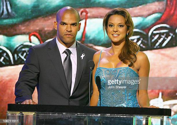 Amaury Nolasco and Eva La Rue presenters during 2007 NCLR ALMA Awards Show at Pasadena Civic Center in Pasadena California United States