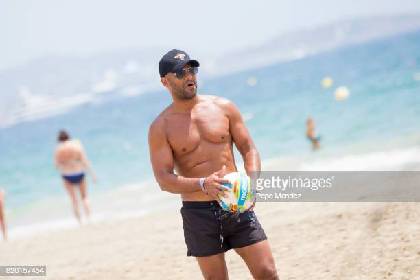 Amaury Nolasco is seen playing volleyball during Global Gift Gala Party at Hard Rock Hotel Ibiza on July 21 2017 in Ibiza Spain