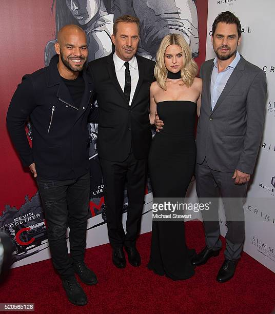 Amaury Nolasco Kevin Costner Alice Eve and Ariel Vromen attend the Criminal New York Ppemiere at AMC Loews Lincoln Square 13 theater on April 11 2016...