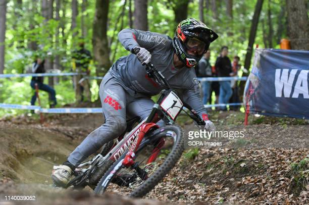 Amaury Pierron of France is seen in action during the Official downhill training before the UCI Mountain Bike World Cup Finals in Maribor