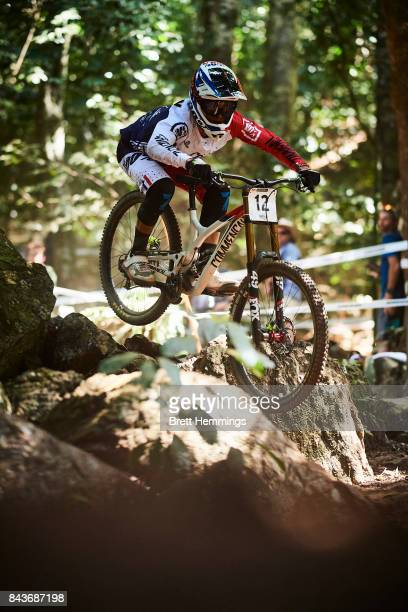 Amaury Pierron of France rides in a downhill practice session during the 2017 Mountain Bike World Championships on September 7 2017 in Cairns...