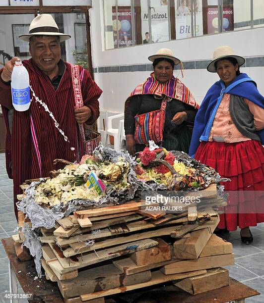 'Amautas' make a ritual to call the 'Ajayu' of a patient on December 5 2013 at the Agromont Hospital in El Alto 12 km from La Paz The hospital...