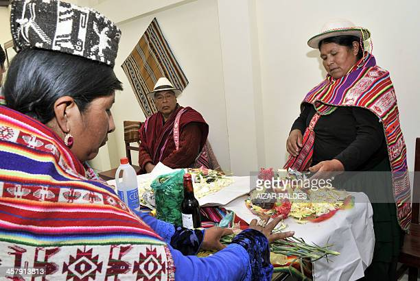 'Amautas' prepare a table to call the 'Ajayu' of a patient on December 5 2013 at the Agromont Hospital in El Alto 12 km from La Paz The hospital...