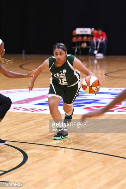 Amaya Asher of Midwest Girls handles the ball against South Girls during the Jr NBA World Championship on August 7 2018 at the ESPN Wide World of...