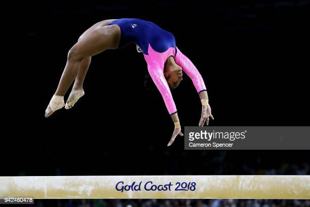 Amaya Kalukottage of Sri Lanka competes on the beam during the Gymnastics Artistic Women's Team Final and Individual Qualification on day two of the...