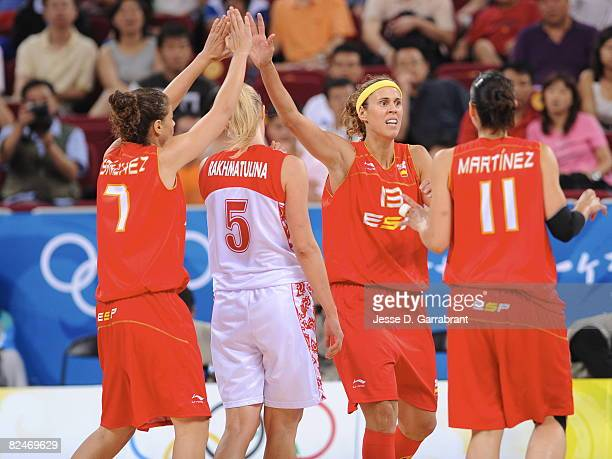 Amaya Valdermoro and Isabel Sanchez of Spain celebrates against Russia during day 1 of the women's quarterfinals basketball game at the 2008 Beijing...