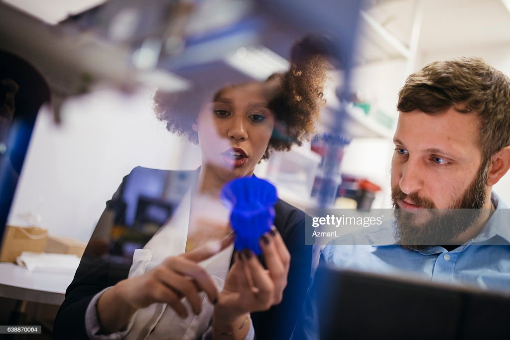 Amazed by 3D printing : Stock Photo
