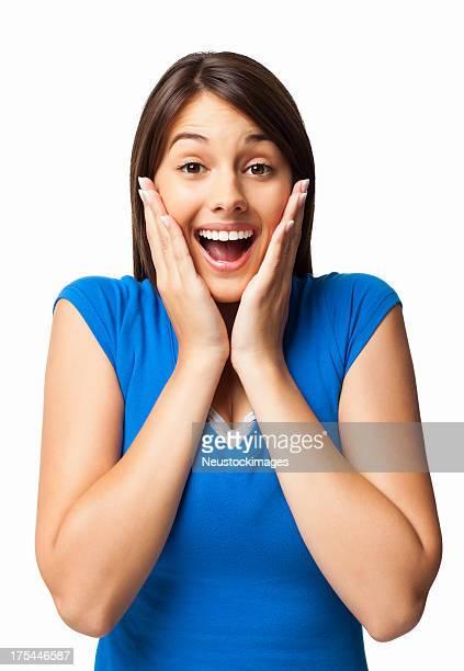 espantado mulher jovem-isolado - da cintura para cima imagens e fotografias de stock