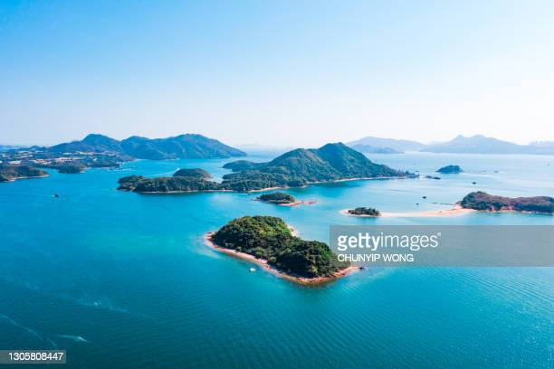 amazing aerial panorama view of sai kung, the famous vacation location in hong kong - country geographic area stock pictures, royalty-free photos & images