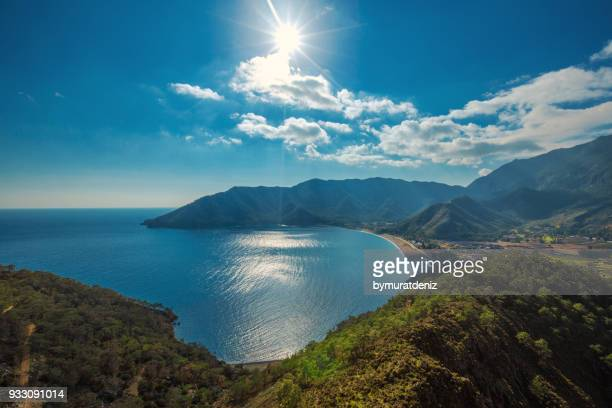 amazing aerial view of adrasan in antalya - antalya province stock pictures, royalty-free photos & images