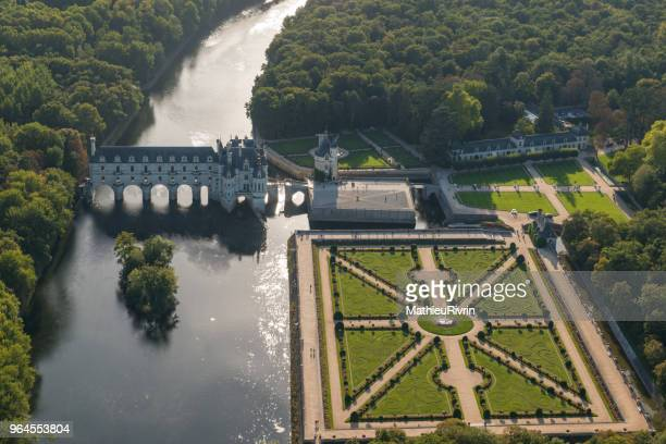 Amazing aerial view of Chenonceau castle on the river Cher