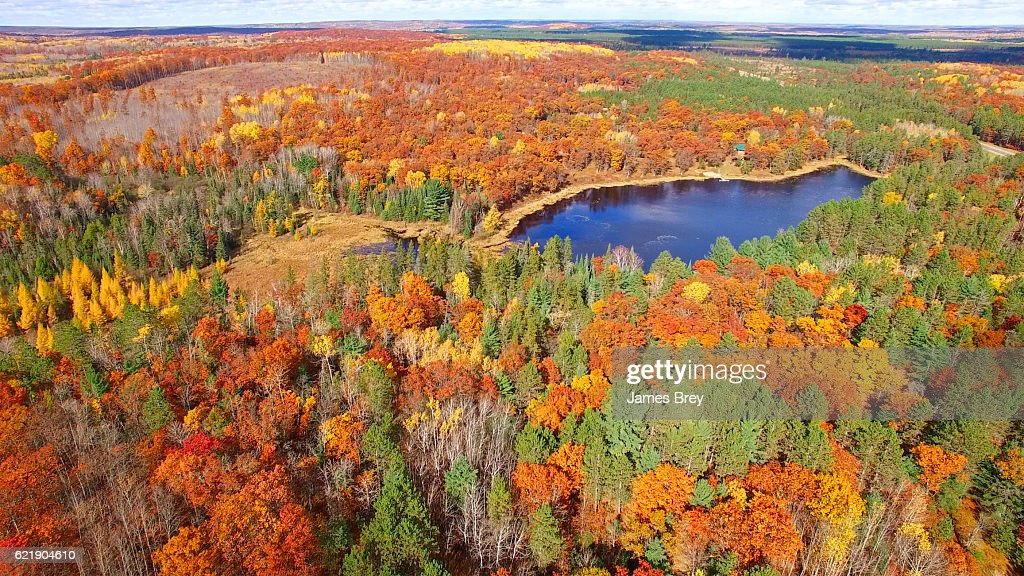 Amazing Autumn scenery, forests with lake, Fall colors, Aerial view : Stock Photo