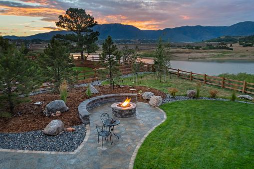 Amazing Backyard with Fire Pit 1062693612