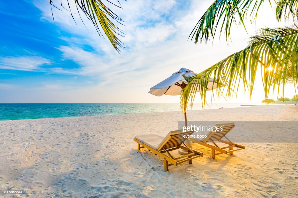 Sunset Beach Scene With Relaxing Mood