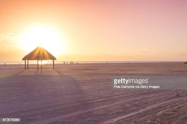 Amazing beach with white sand at sunset, Florida, USA