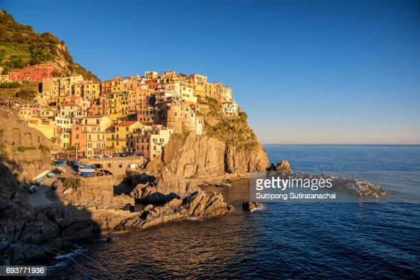 amazing beautiful view of Manarola, Cinque Terre (Italian Riviera, Liguria) , La spezia province , Italy -- Most popular holiday travel destination in Italy