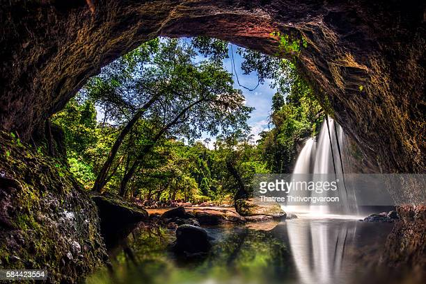 Amazing beautiful waterfalls at Haew Suwat Waterfall