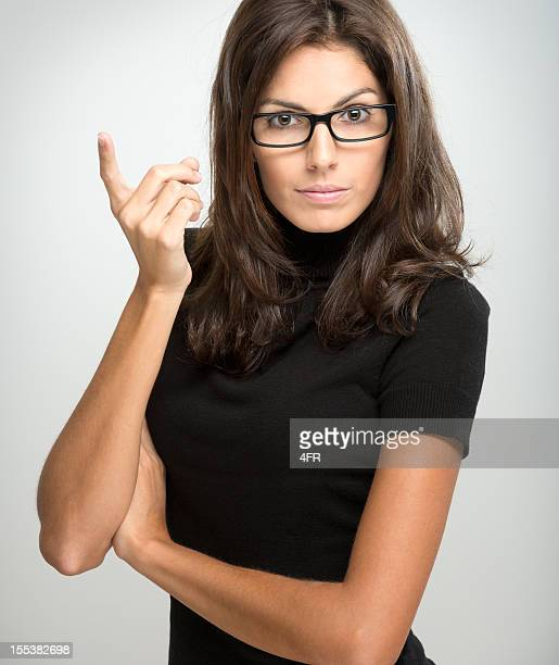 Amazing Brunette with Glasses giving a Warning (XXXL)